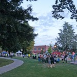 Scene of crowd at Friday Nights in park