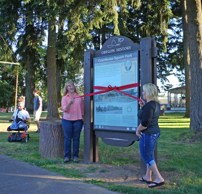 The Historical Marker Ribbon Cutting Ceremony on July 18th, 2013, with Kelly Haverkate and Mayor Jolie White.