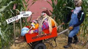 Scarecrow in wheelbarrow