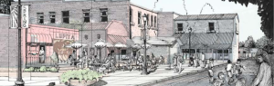 Design rendering of Commerce Street alley with outdoor restaurant seating and pedestrians